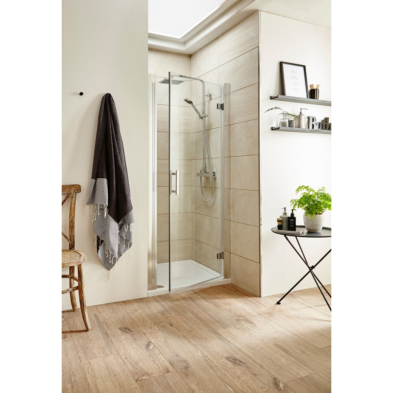 Nuie Pacific 800mm Hinged Shower Door Aqhd80