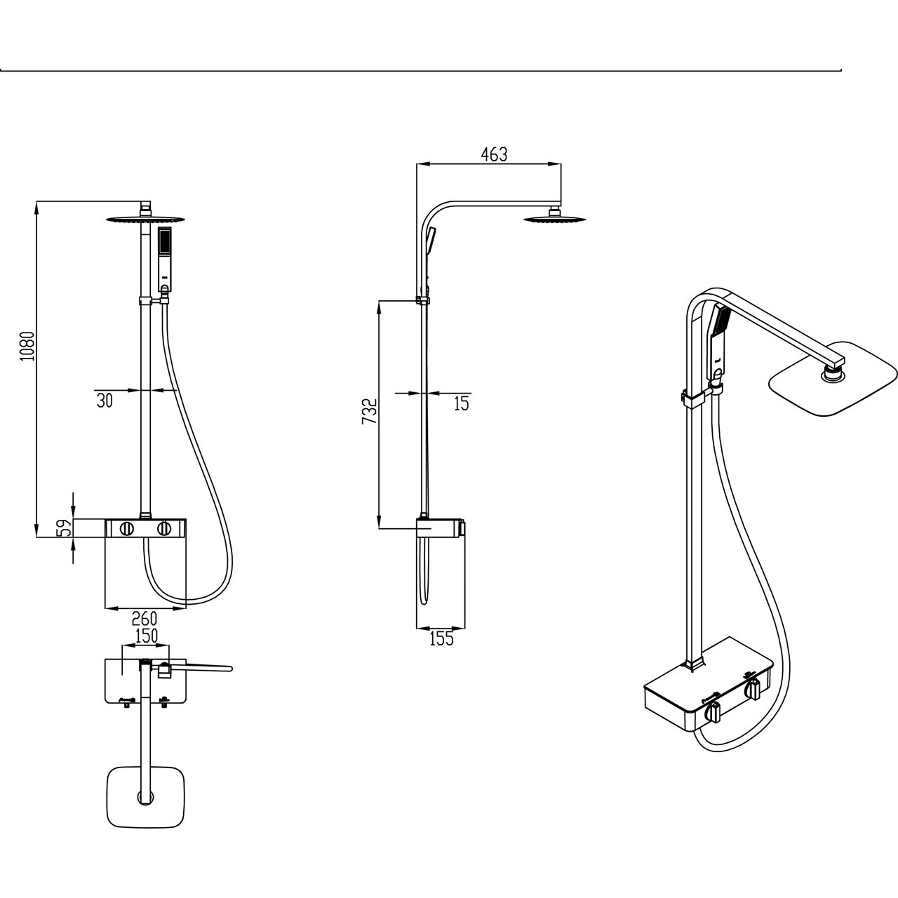 Premier Thermostatic Bar Valve With Shelf And Riser Kit