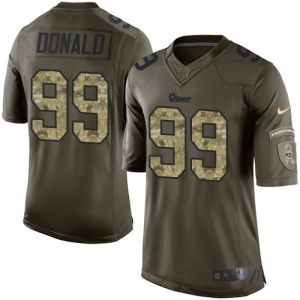 fef2bfc5b0f Nike Rams  99 Aaron Donald Green Men s Stitched NFL Limited Salute to  Service Jersey