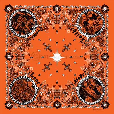 Jesus Christ  Christian Bandana  Orange  22x22 Inch