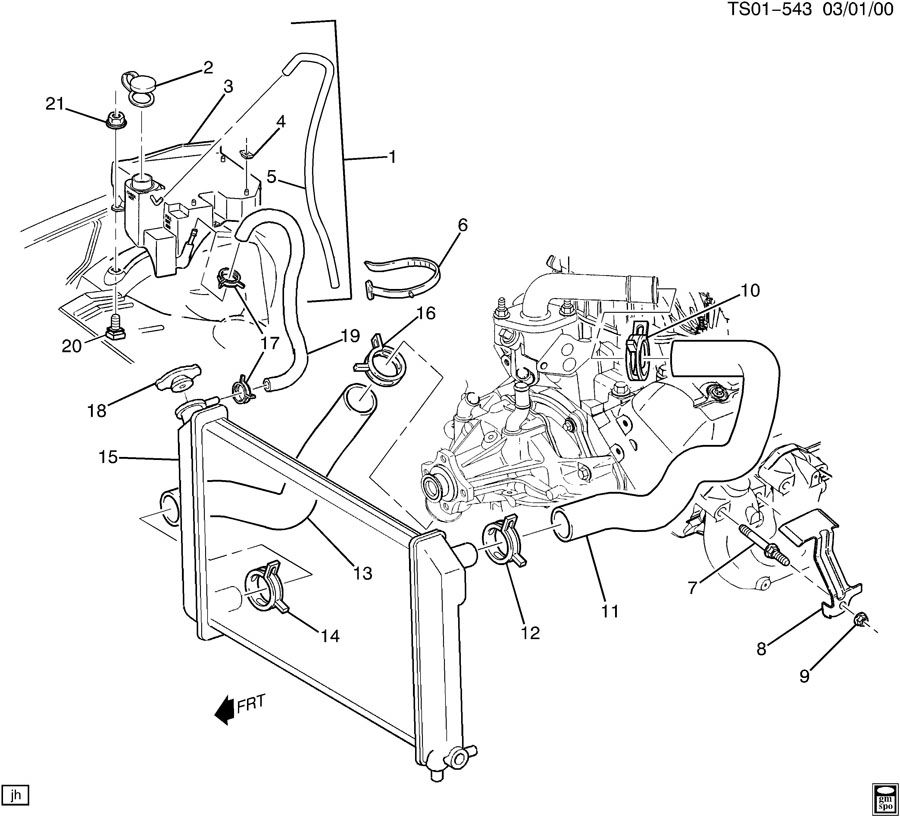 1998 GMC JIMMY ENGINE COOLING SYSTEM