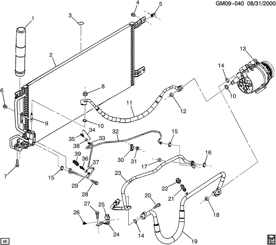 Chevrolet Venture Hose. Air conditioning (a/c) compressor