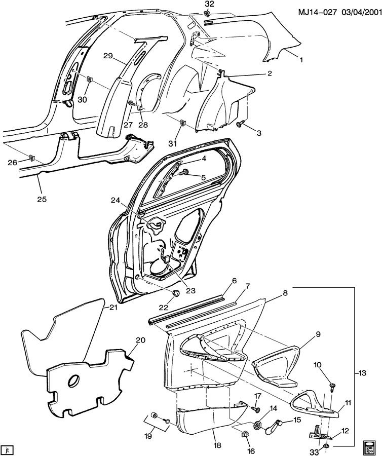 Chevrolet Cavalier Panel. Body center pillar (w/metal