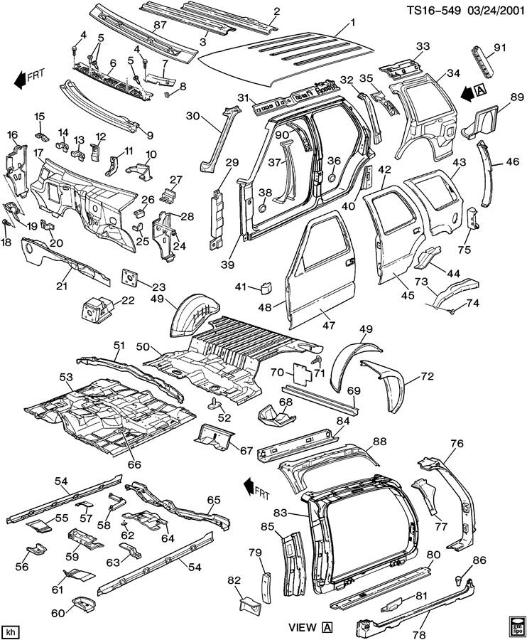 Chevrolet TRAILBLAZER Reinforcement. Rear door opening