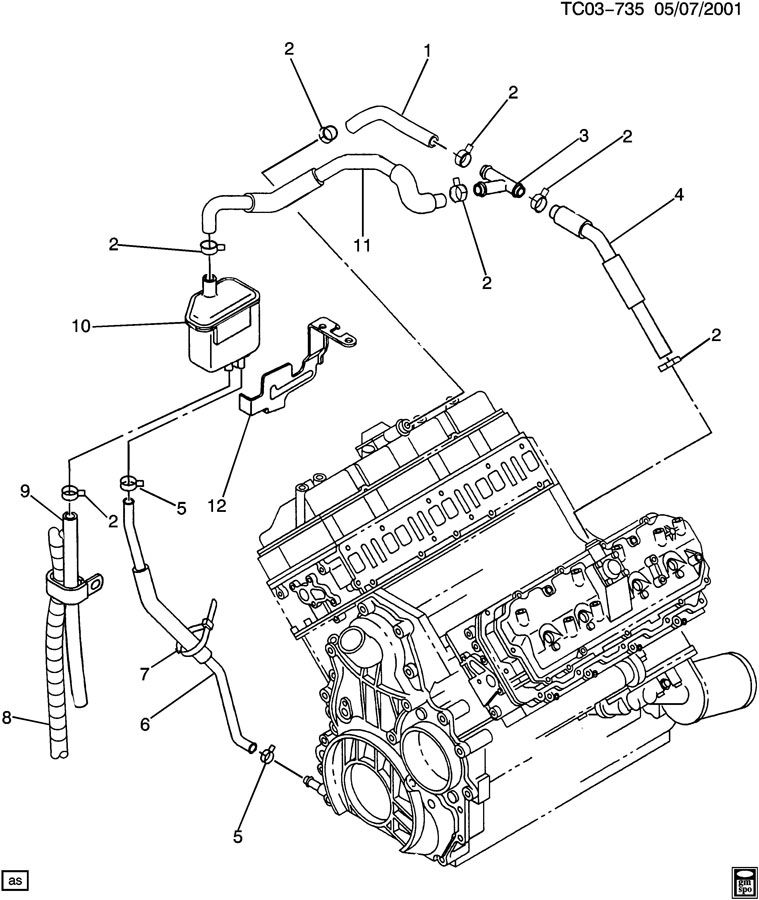 Chevrolet Silverado 2500 Connector. Engine crankcase