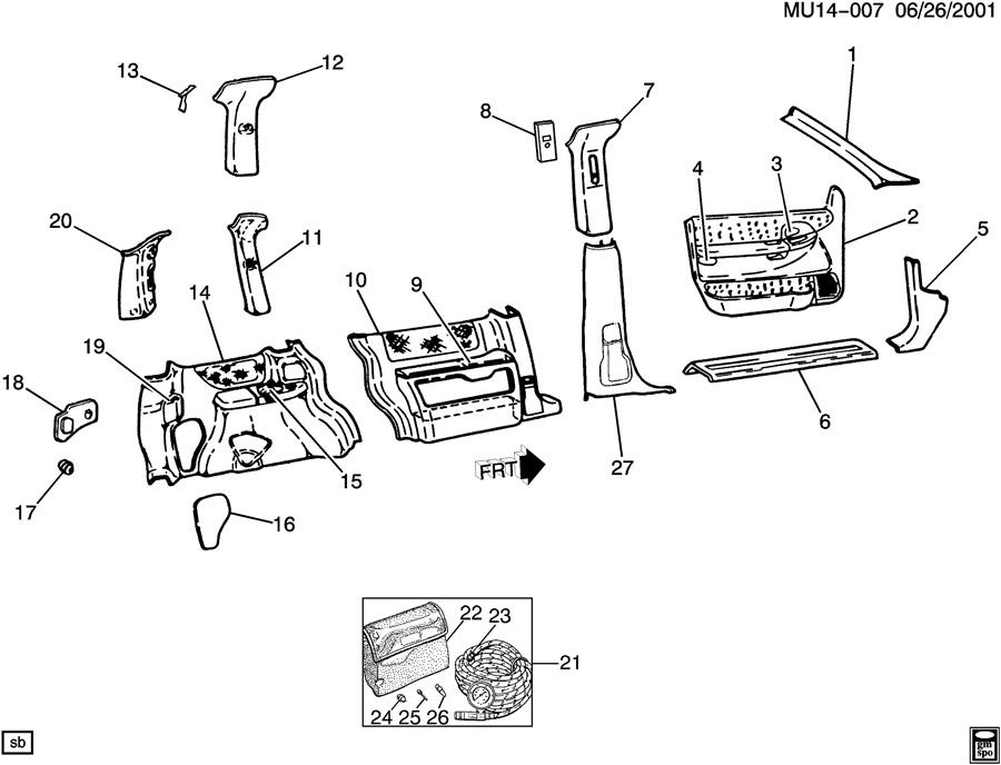 Chevrolet Venture Jack and Miscellaneous Wrench. ACCESSORY