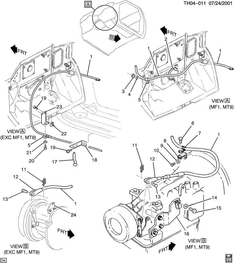 GMC C7500 Bracket. Parking brake cable. Rearhas, cblmtd