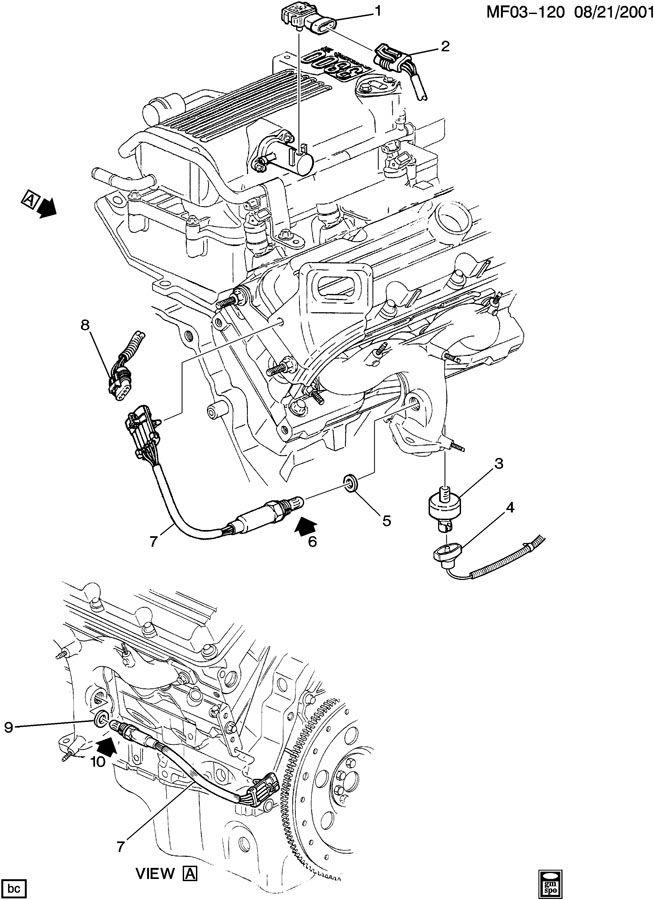 1999 Chevrolet Connector. Oxygen sensor. At converter