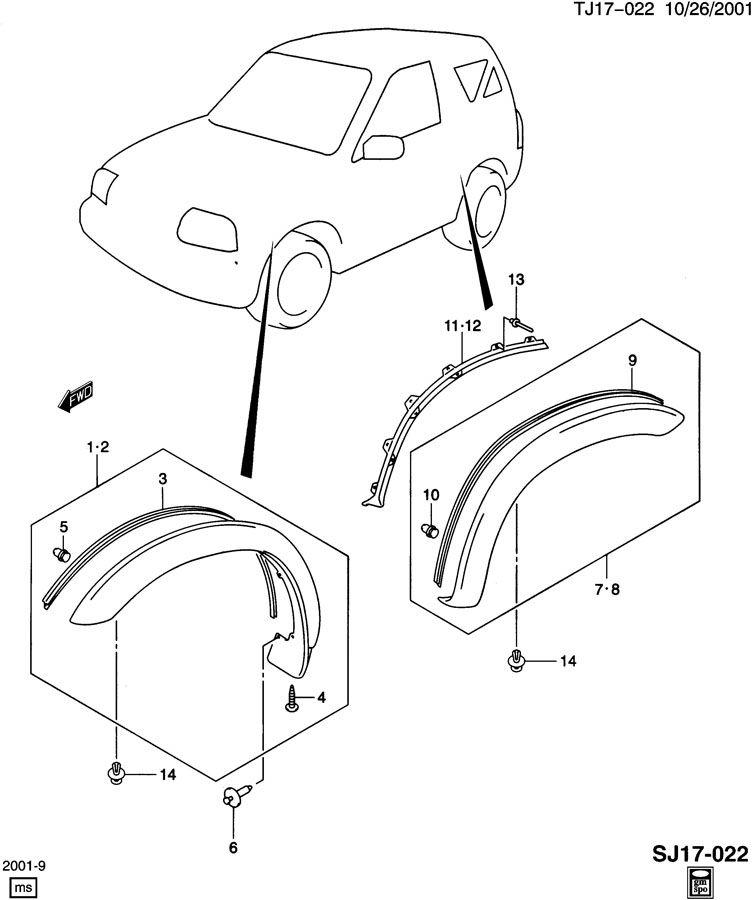Chevrolet MOLDINGS/WHEEL OPENING FLARES