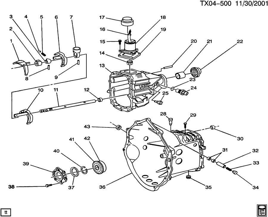 Chevrolet S10 Spring. Transmission shift shaft detent