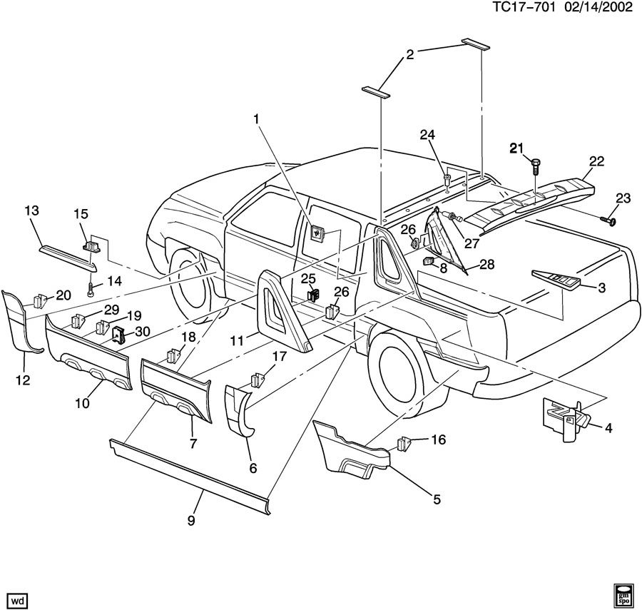 Chevrolet AVALANCHE Retainer. Pickup box. Rear storage
