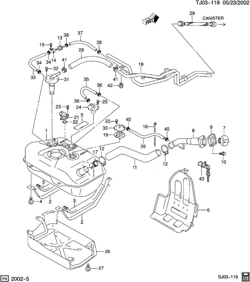 Chevrolet S10 Hose. Early fuel evaporation. Hose, evap