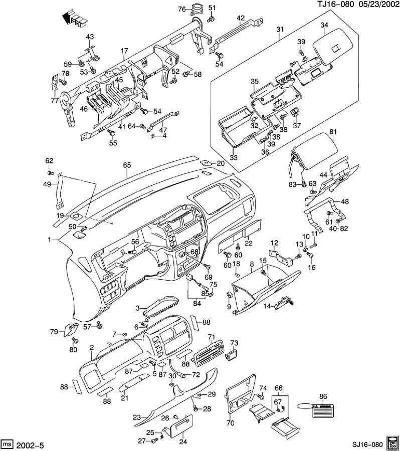 2002 Chevrolet S10 Panel. Instrument panel. Panel, i/p