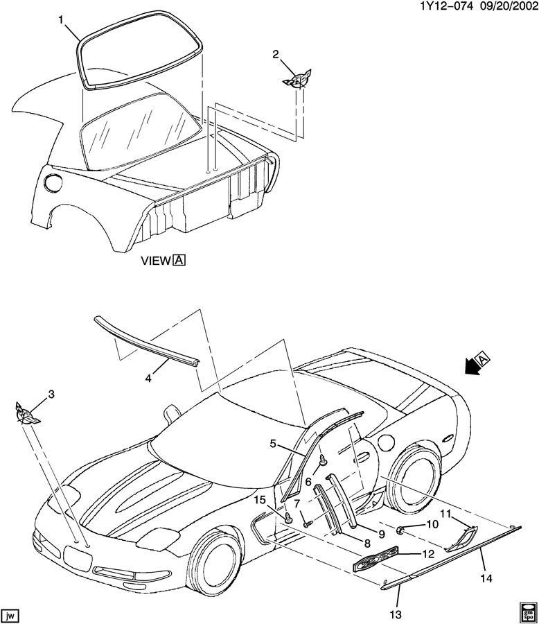 Chevrolet Corvette Molding. Windshield reveal molding