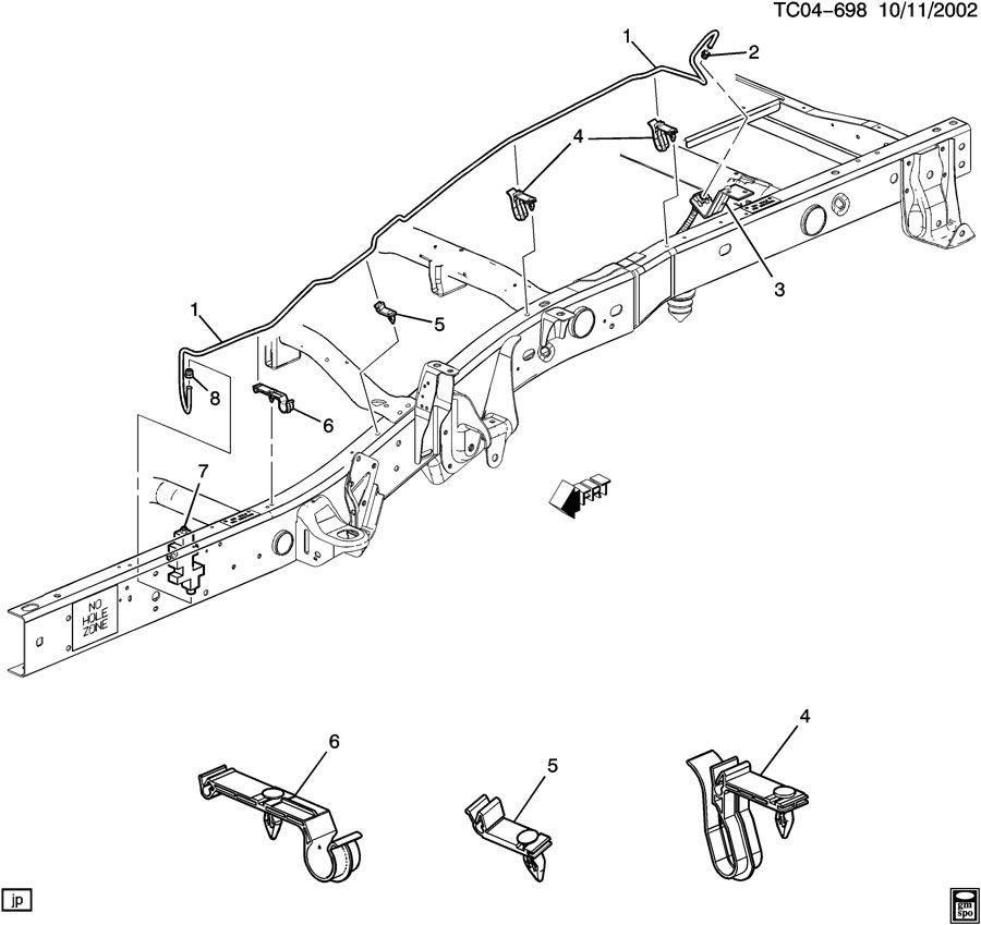 Chevrolet Silverado 2500 Nut. Hydraulic brake pipe (pack