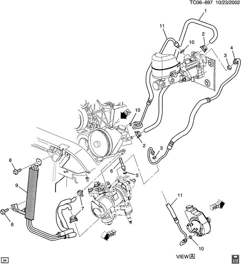 GMC Sierra Hose. Hydraulic power brake booster. Hose, p/b