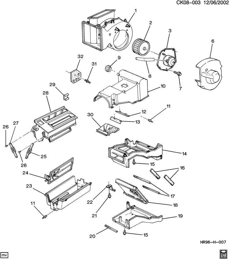1994 Chevrolet Case. Air conditioning (a/c) evaporator