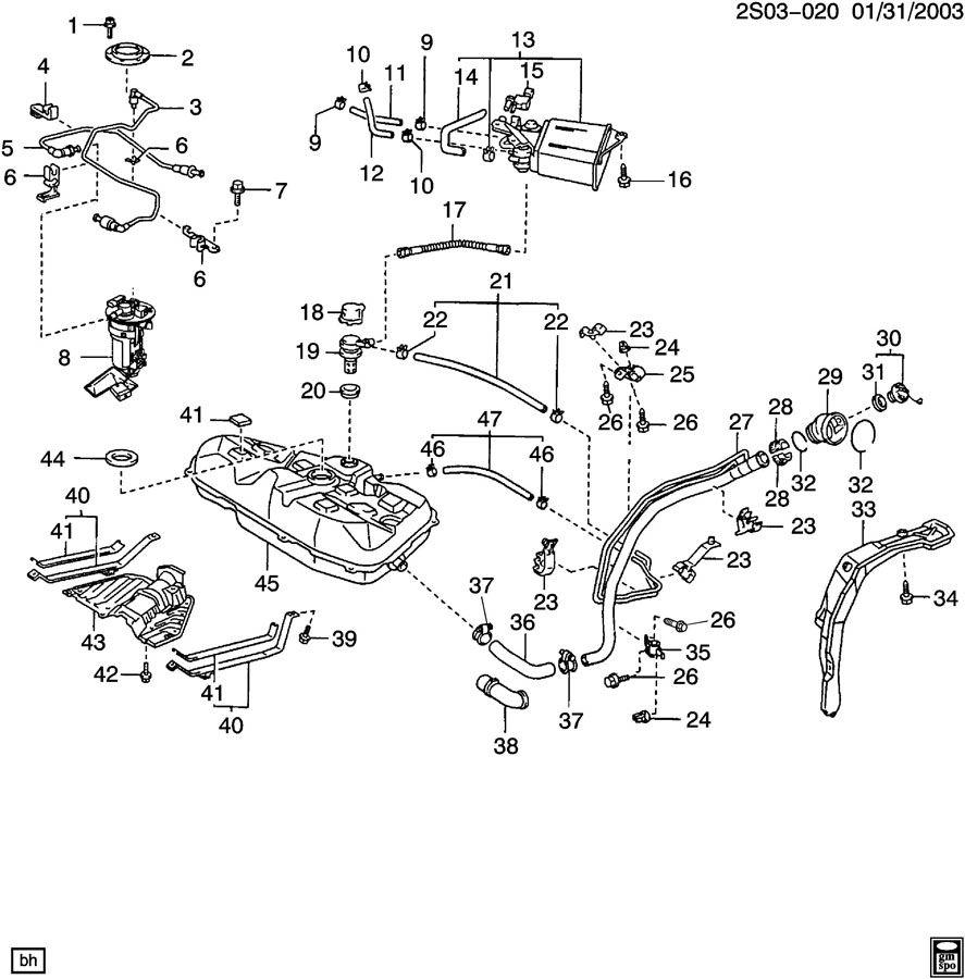 Pontiac Vibe Bolt. Fuel tank evaporator/purge control