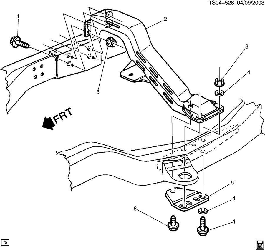 2003 Chevrolet S10 Crossmember. Transmission mounting