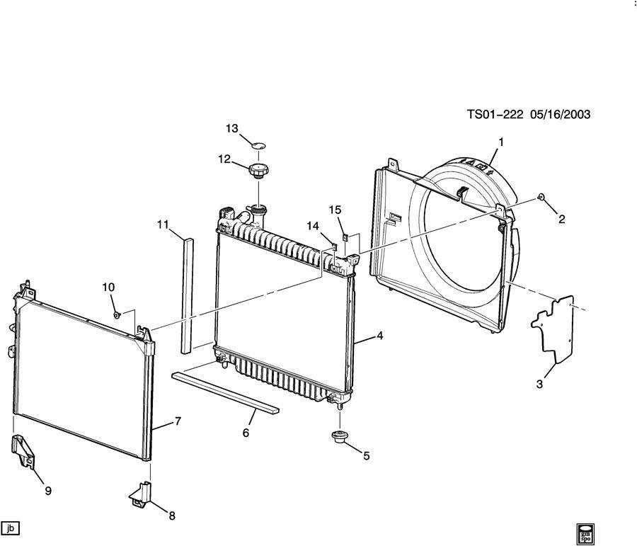 Chevrolet TRAILBLAZER Shroud. Radiator fan shroud. Shroud
