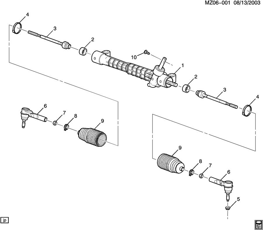 2006 Chevrolet Malibu Boot kit. Steering tie rod. Boot kit
