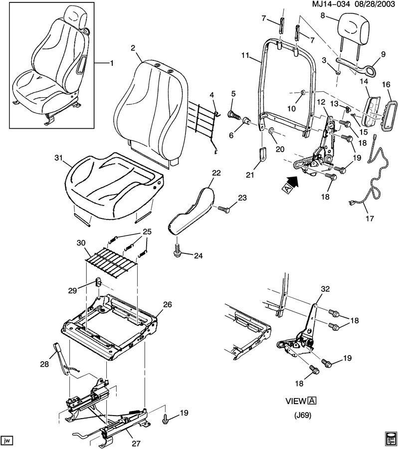 Chevrolet Cavalier Seat Belt Guide. 1995-02, coupe & sedan