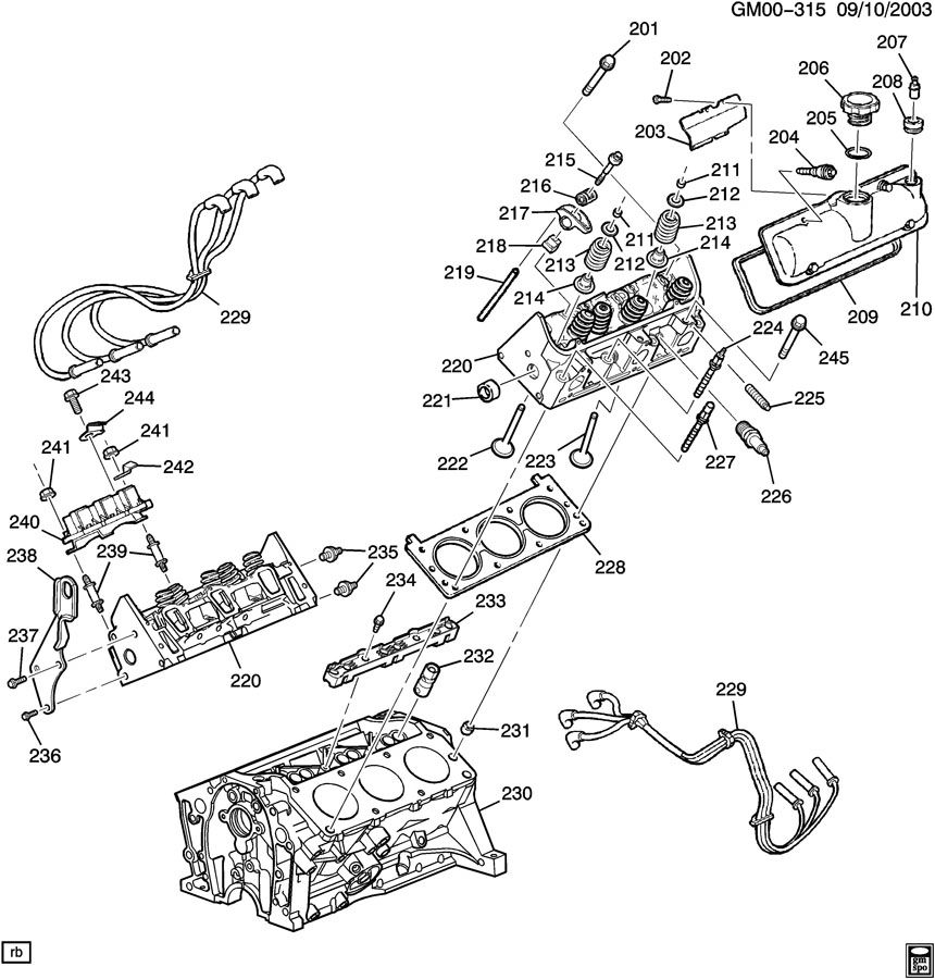 Chevrolet Venture ENGINE ASM-3.4L V6 PART 2 CYLINDER HEAD
