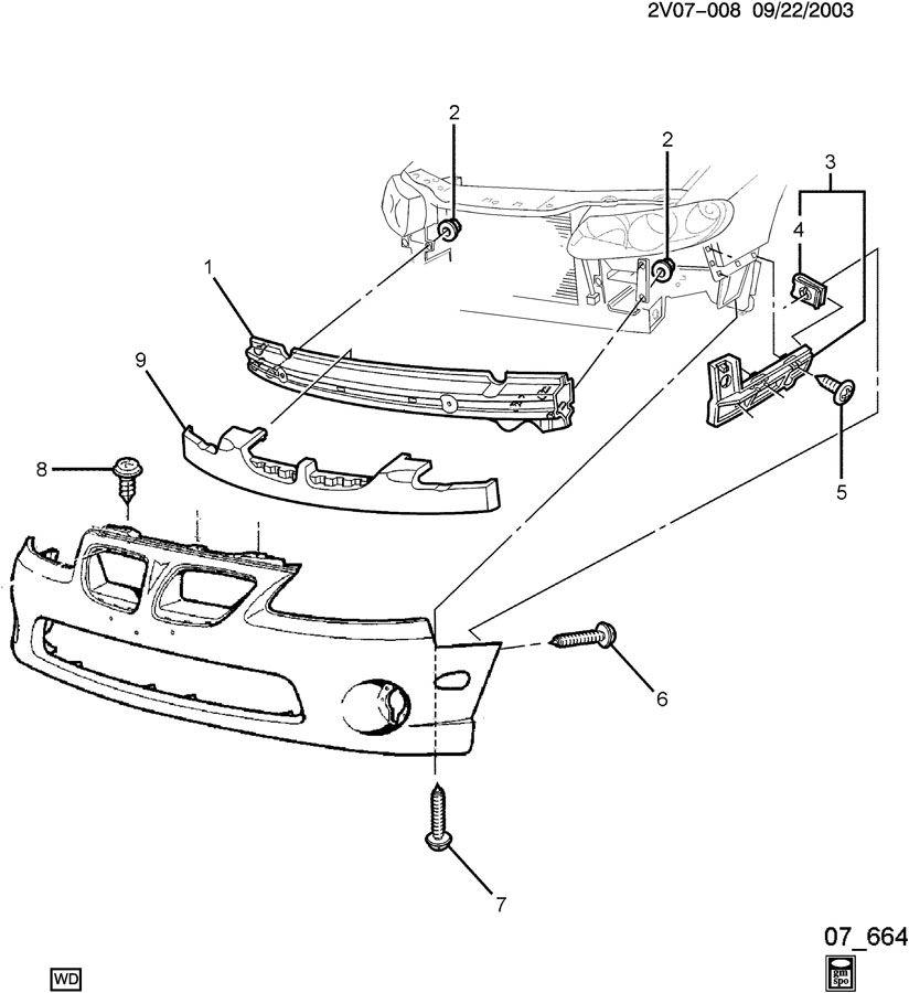 Pontiac GTO Nut. Front and rear bumper/fascia face. Bolt