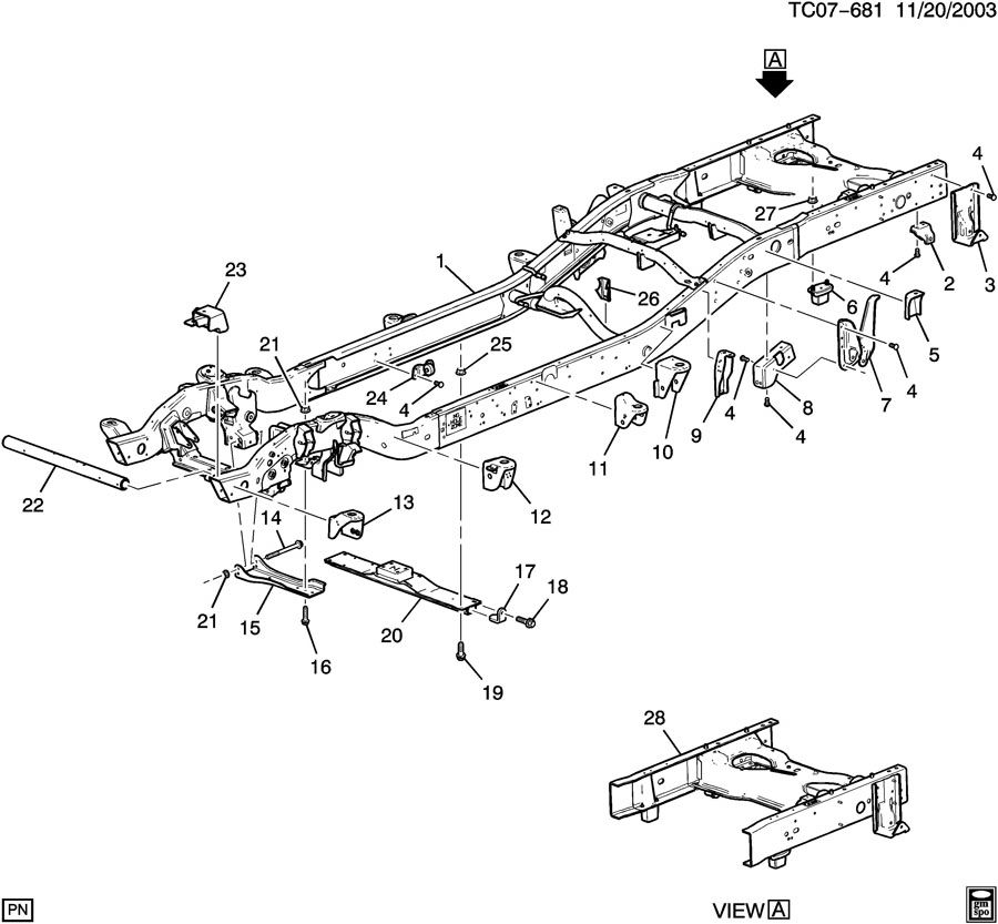Chevrolet Silverado Frame kit. Chassis. Frame kit, rr half