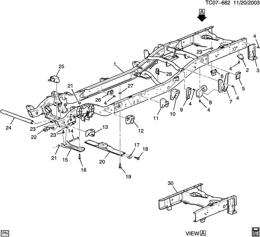 Chevrolet Silverado 2500 Frame. Chassis. Frame, chassis