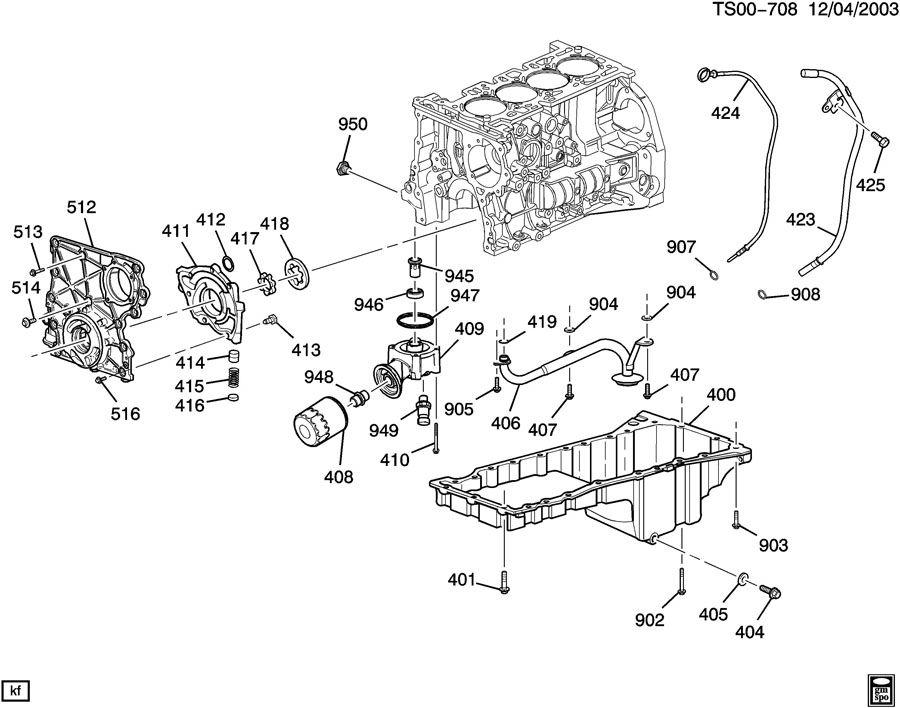 Chevrolet COLORADO Seal. Engine crankcase. Engine front