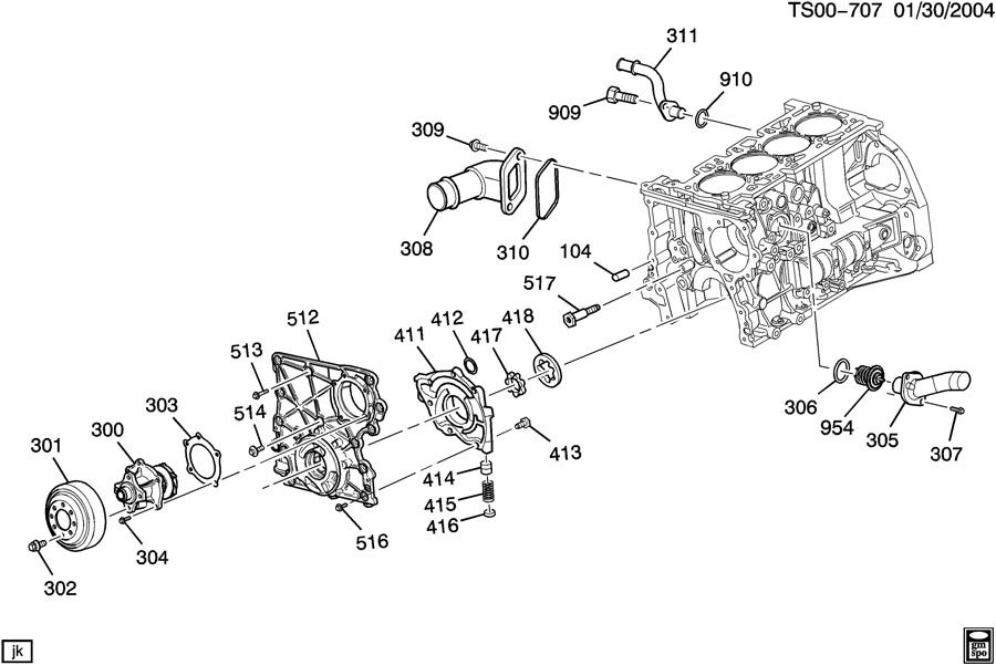 Chevrolet COLORADO Pump. Engine coolant. Pump, wat(w/gskt