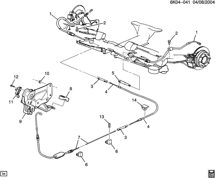 Cadillac Deville Cable. Parking brake. Cable, park brk rr