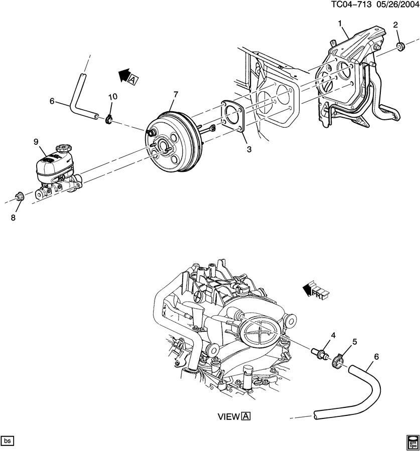 Chevrolet Silverado Hose. Vacuum power brake. Hose, p/b