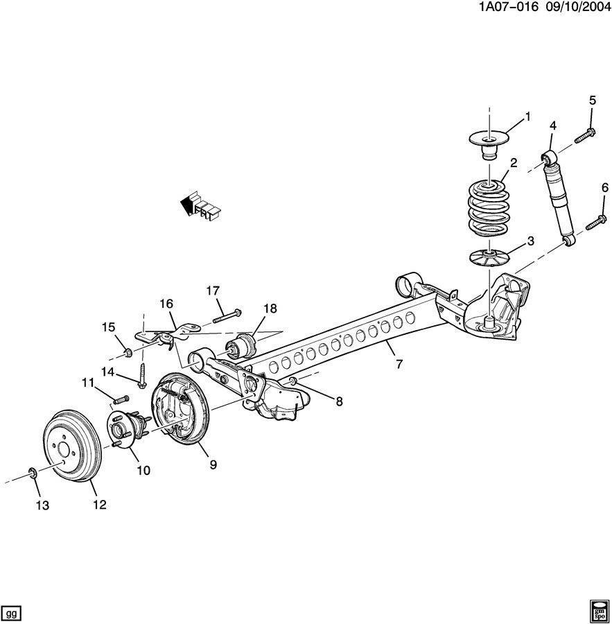 2007 Chevrolet Cobalt Bolt. Shock absorber/strut. Bolt, rr