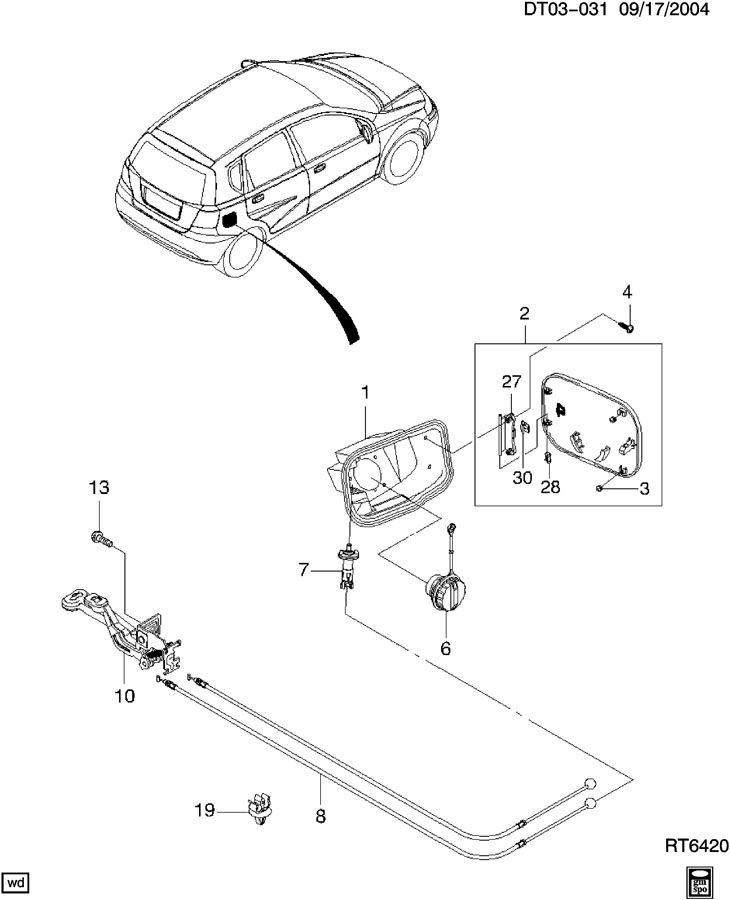 Chevrolet Aveo Latch. Fuel tank filler door. Latch, f/tnk
