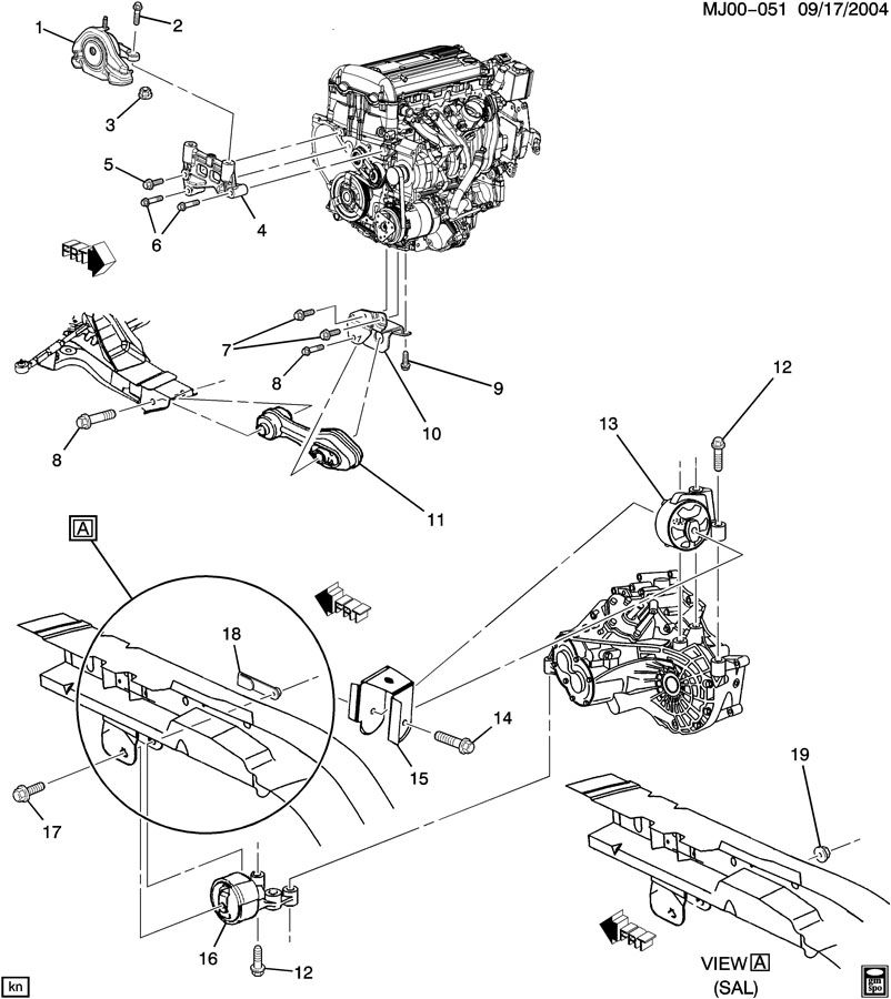 Chevrolet Cavalier Bolt. Engine mounting. Transmission