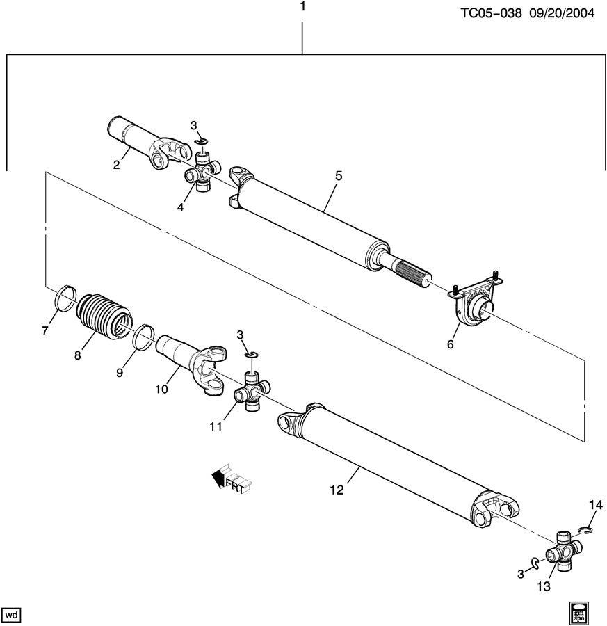 Chevrolet Silverado Bearing. Center/intermediate propeller