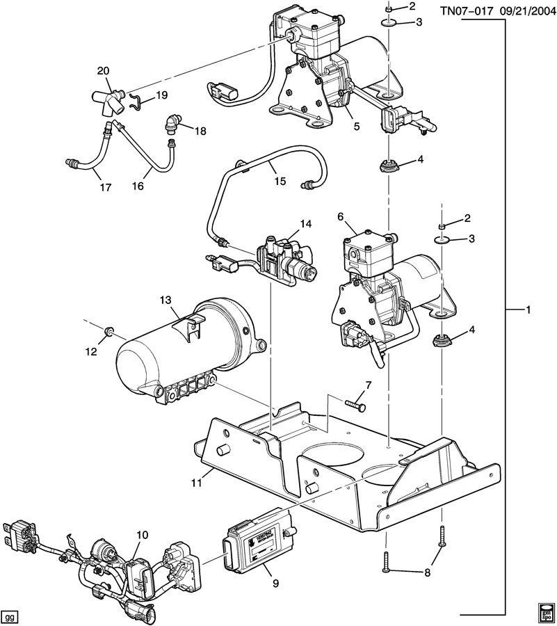 Hummer H2 Harness. Air suspension compressor tank