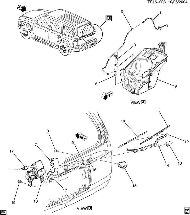 2002 Chevrolet TRAILBLAZER Base Hose. Rear window wiper