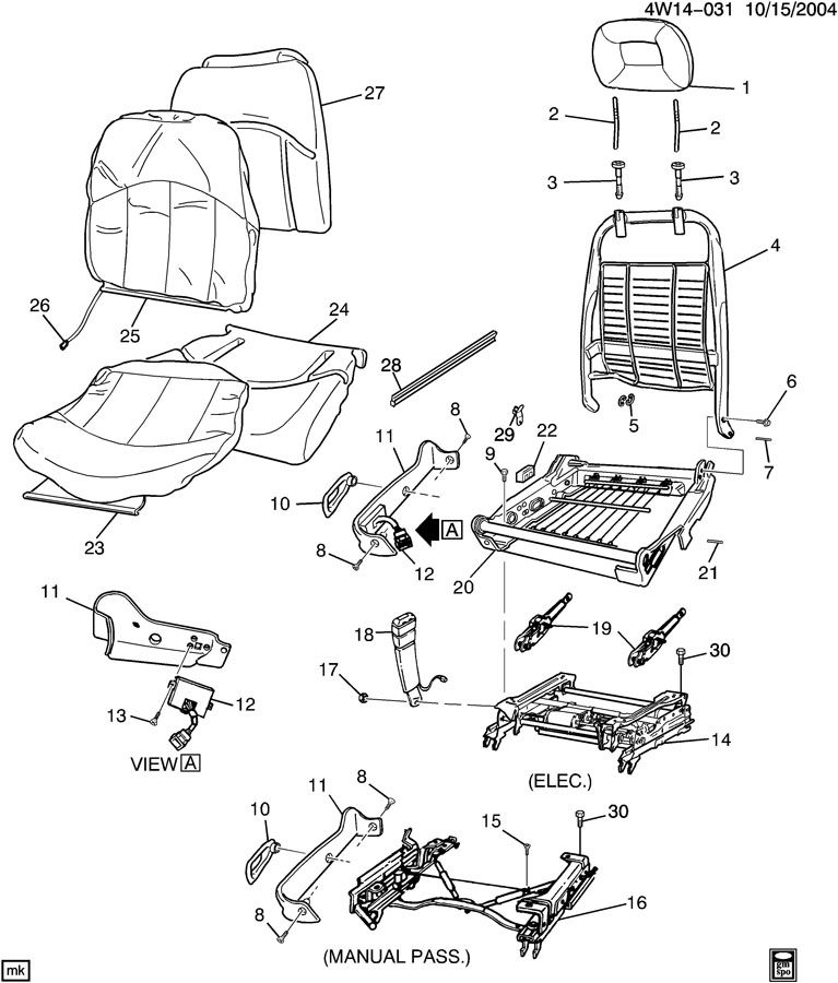 Pontiac Grand Prix Spring. Front seat cushion. Springpseat