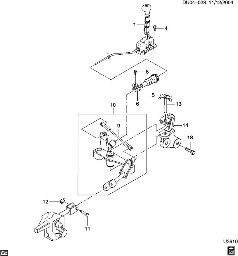 Chevrolet Optra Clamp. Transmission shift shaft lever rod