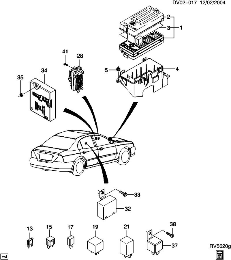 Chevrolet Optra Relay. Horn. Main wiring junction and fuse