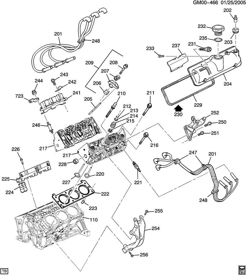 ENGINE ASM-3.4L V6 PART 2 CYLINDER HEAD & RELATED PARTS