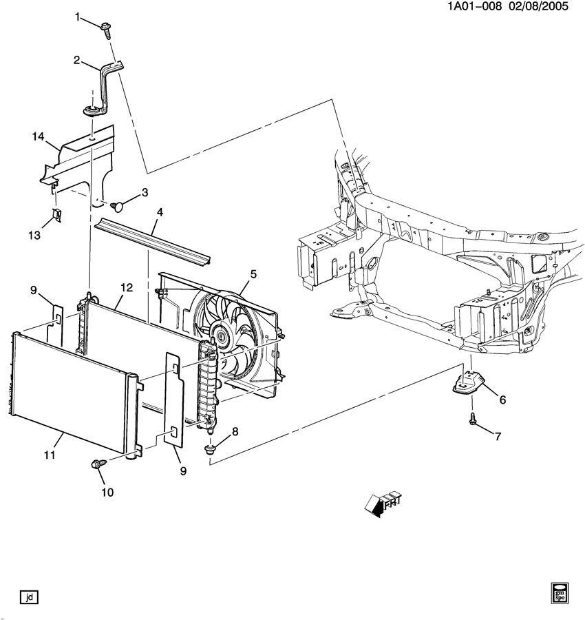 Chevrolet Cobalt Bracket. Radiator. Bracket, rad upr(incls