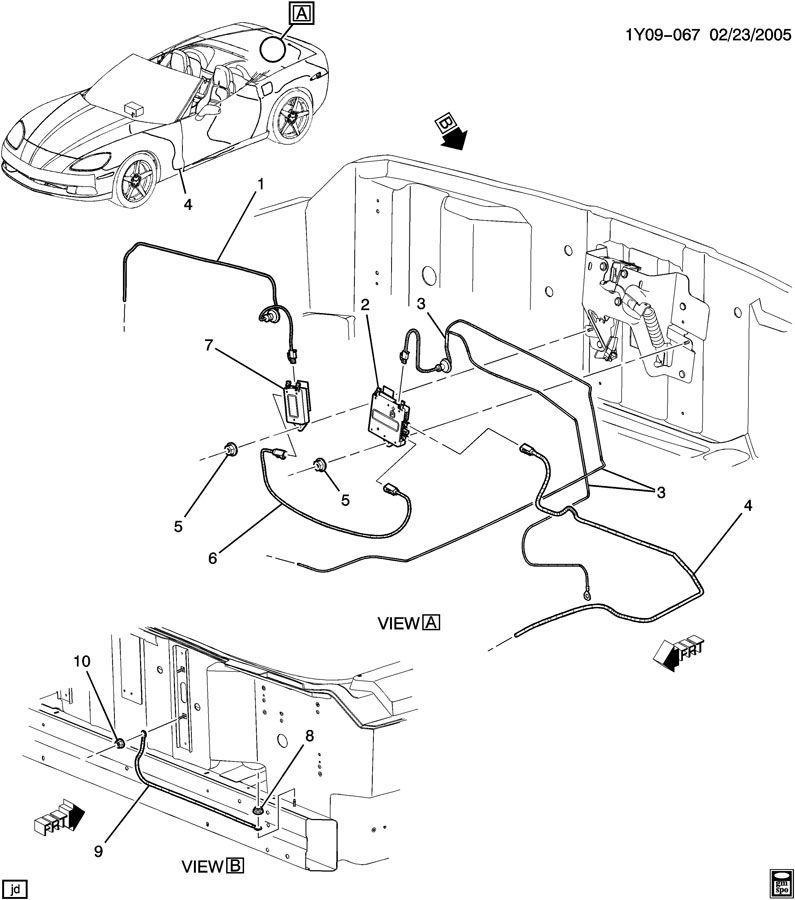 Chevrolet Corvette Antenna Cable. W/O DIGITAL AUDIO