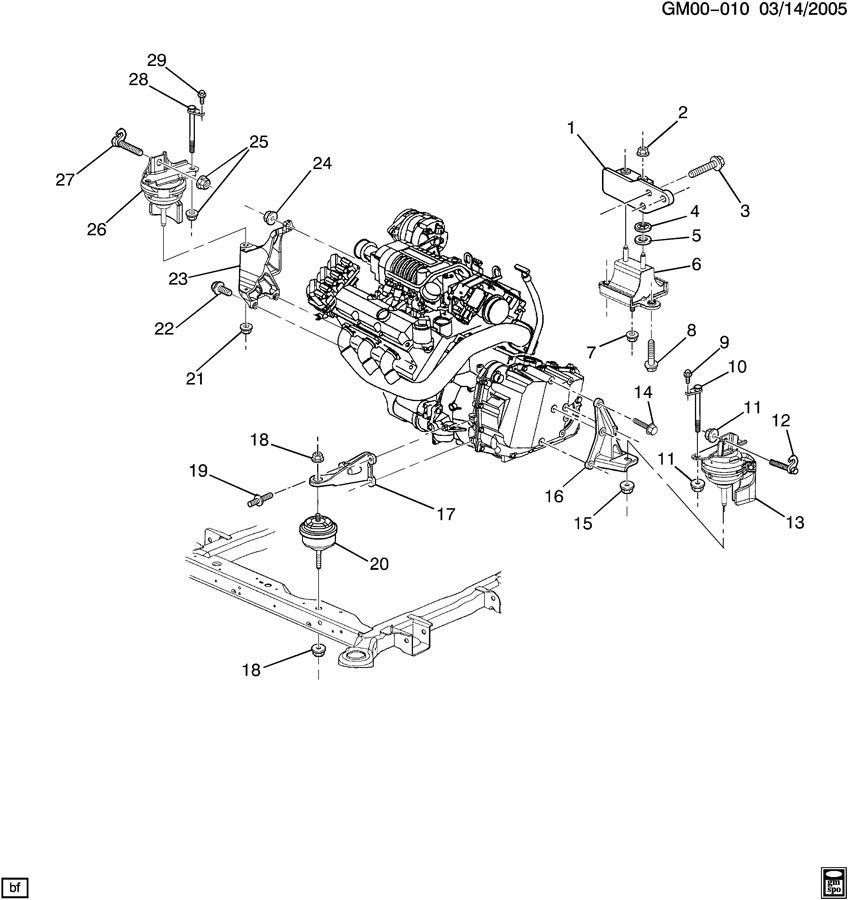 2004 Pontiac Bonneville ENGINE & TRANSMISSION MOUNTING-V6