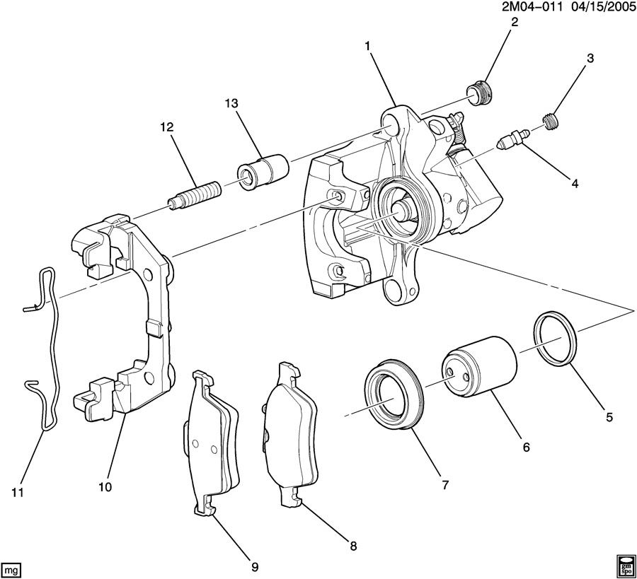 Chevrolet Cobalt BRAKE CALIPER/REAR