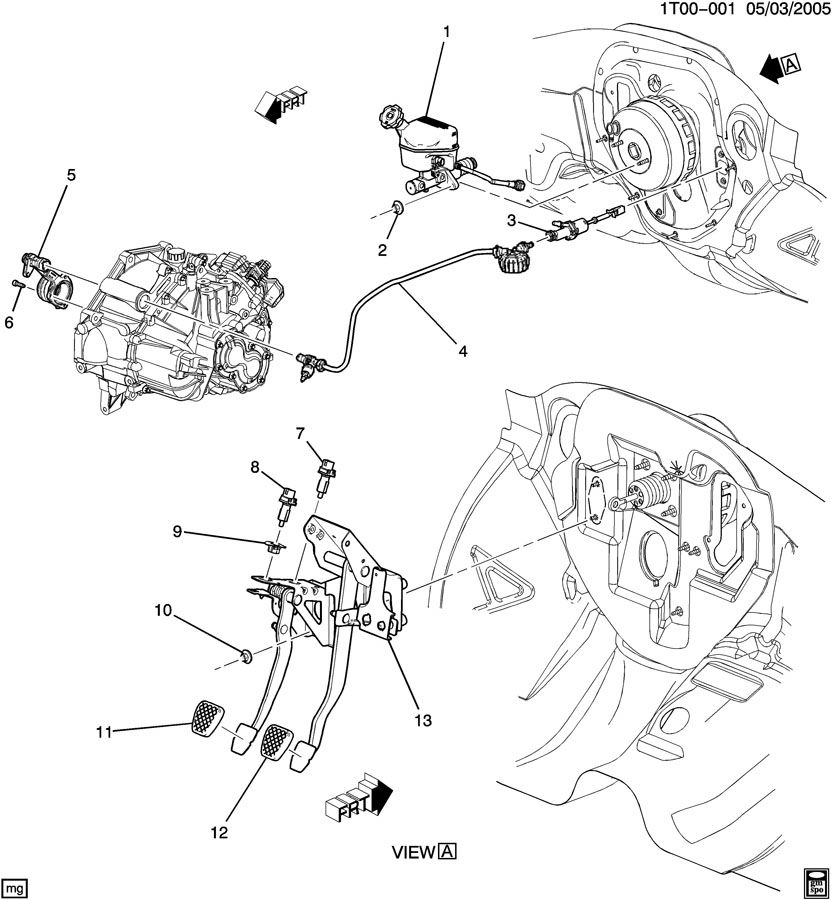 Chevrolet HHR A CLUTCH PEDAL & CYLINDERS (M86);