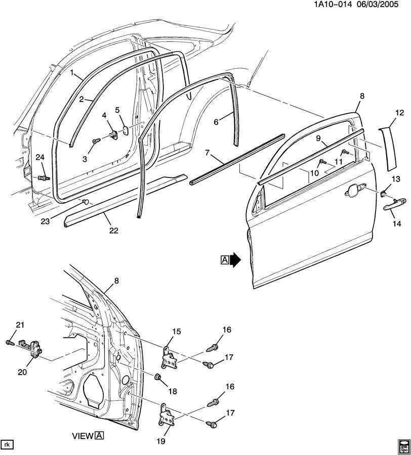 Chevrolet Cobalt Link. Front door hinge. Link, frt s/d chk